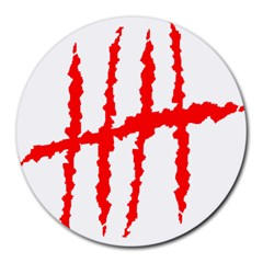 Scratches Claw Red White H Round Mousepads by Mariart