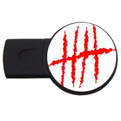 Scratches Claw Red White H Usb Flash Drive Round (2 Gb) by Mariart