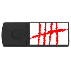 Scratches Claw Red White H Usb Flash Drive Rectangular (4 Gb) by Mariart