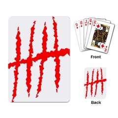 Scratches Claw Red White H Playing Card by Mariart
