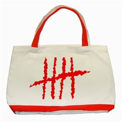Scratches Claw Red White H Classic Tote Bag (red) by Mariart