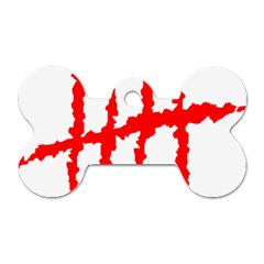 Scratches Claw Red White H Dog Tag Bone (one Side) by Mariart