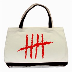 Scratches Claw Red White H Basic Tote Bag (two Sides) by Mariart