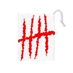 Scratches Claw Red White H Drawstring Pouches (medium)  by Mariart