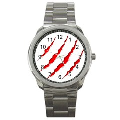 Scratches Claw Red White Sport Metal Watch by Mariart