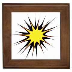 Spot Star Yellow Black White Framed Tiles by Mariart