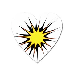 Spot Star Yellow Black White Heart Magnet by Mariart