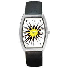 Spot Star Yellow Black White Barrel Style Metal Watch by Mariart
