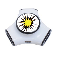 Spot Star Yellow Black White 3 Port Usb Hub by Mariart