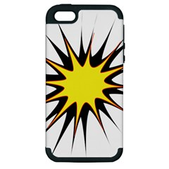 Spot Star Yellow Black White Apple Iphone 5 Hardshell Case (pc+silicone) by Mariart