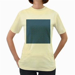 Striped  Line Blue Women s Yellow T Shirt by Mariart