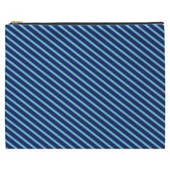 Striped  Line Blue Cosmetic Bag (xxxl)  by Mariart