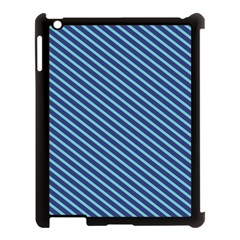 Striped  Line Blue Apple Ipad 3/4 Case (black) by Mariart