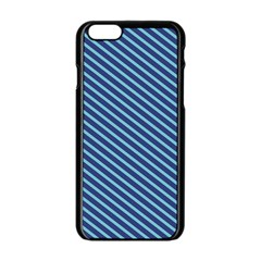 Striped  Line Blue Apple Iphone 6/6s Black Enamel Case by Mariart