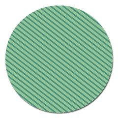 Striped Green Magnet 5  (round) by Mariart