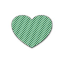 Striped Green Rubber Coaster (heart)  by Mariart