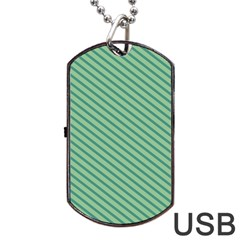 Striped Green Dog Tag Usb Flash (one Side) by Mariart