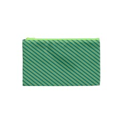 Striped Green Cosmetic Bag (xs) by Mariart