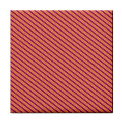 Striped Purple Orange Tile Coasters by Mariart