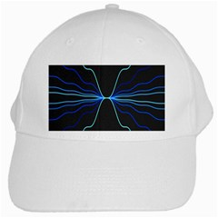 Sine Squared Line Blue Black Light White Cap by Mariart