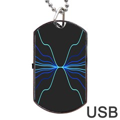 Sine Squared Line Blue Black Light Dog Tag Usb Flash (two Sides) by Mariart