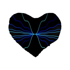 Sine Squared Line Blue Black Light Standard 16  Premium Flano Heart Shape Cushions by Mariart