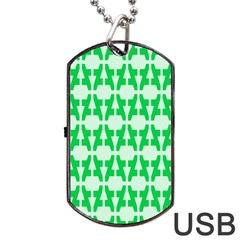 Sign Green A Dog Tag Usb Flash (one Side) by Mariart