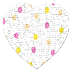 Stone Diamond Yellow Pink Brown Jigsaw Puzzle (heart) by Mariart