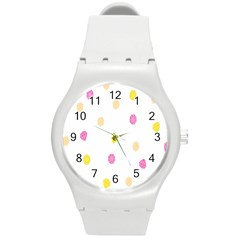 Stone Diamond Yellow Pink Brown Round Plastic Sport Watch (m) by Mariart