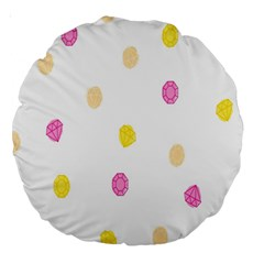 Stone Diamond Yellow Pink Brown Large 18  Premium Round Cushions by Mariart