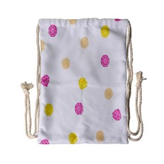 Stone Diamond Yellow Pink Brown Drawstring Bag (small) by Mariart