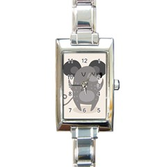 Tooth Bigstock Cute Cartoon Mouse Grey Animals Pest Rectangle Italian Charm Watch by Mariart
