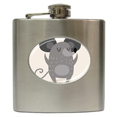 Tooth Bigstock Cute Cartoon Mouse Grey Animals Pest Hip Flask (6 Oz) by Mariart