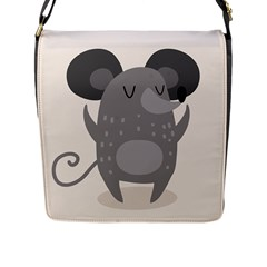 Tooth Bigstock Cute Cartoon Mouse Grey Animals Pest Flap Messenger Bag (l)  by Mariart