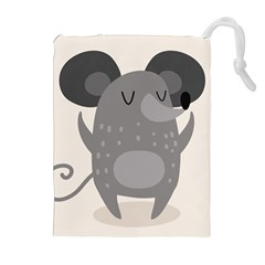 Tooth Bigstock Cute Cartoon Mouse Grey Animals Pest Drawstring Pouches (extra Large) by Mariart