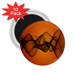 Transparent Waves Wave Orange 2 25  Magnets (10 Pack)  by Mariart