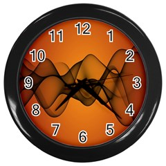Transparent Waves Wave Orange Wall Clocks (black) by Mariart