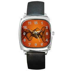 Transparent Waves Wave Orange Square Metal Watch by Mariart