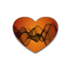 Transparent Waves Wave Orange Heart Coaster (4 Pack)  by Mariart