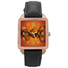 Transparent Waves Wave Orange Rose Gold Leather Watch  by Mariart