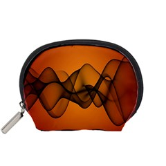 Transparent Waves Wave Orange Accessory Pouches (small)  by Mariart