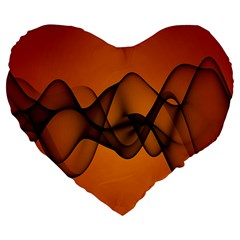 Transparent Waves Wave Orange Large 19  Premium Flano Heart Shape Cushions by Mariart