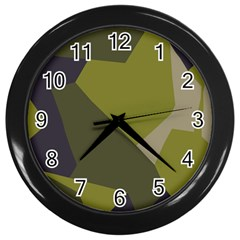 Unifom Camuflage Green Frey Purple Falg Wall Clocks (black) by Mariart