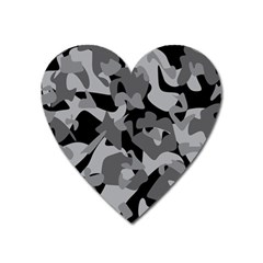 Urban Initial Camouflage Grey Black Heart Magnet by Mariart