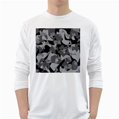Urban Initial Camouflage Grey Black White Long Sleeve T Shirts by Mariart