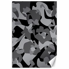Urban Initial Camouflage Grey Black Canvas 24  X 36  by Mariart