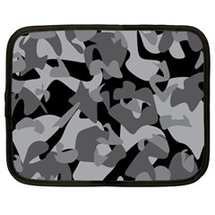 Urban Initial Camouflage Grey Black Netbook Case (xxl)  by Mariart