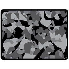 Urban Initial Camouflage Grey Black Fleece Blanket (large)  by Mariart