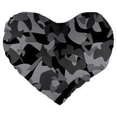 Urban Initial Camouflage Grey Black Large 19  Premium Flano Heart Shape Cushions by Mariart