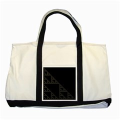 Triangle Black White Chevron Two Tone Tote Bag by Mariart